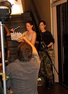 Pia Thrasher on the set of 'City 7' with director Peter Stoll